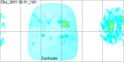 1 Marzo 2001. La zona AR 9393 nella mappa di Carrington del flusso magnetico misurato (Lato Terra) e dedotto con MDI (Lato nascosto) non viene vista. Nascerà a 154 di longitudine e 17N di latitudine, in questa data non vi è alcun segno dell'enorme spot che si formerà di li a poco.